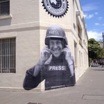 Mural of @PeterGreste on the MEAA building,Redfern. Jailed unjustly,1 yrDec 29. Thanks for the artwork HEGO! #freedom http://t.co/8WDPSNxWJw