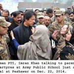 Imran khan talking to the parents at Army public school Peshawar. http://t.co/RO5iRRp8qL