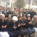 Imran Khan reached Shaheed Principle home. #IKnPeshawar http://t.co/VfqZyF3neI