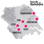 The six start/finishes for the 2015 Tour de Yorkshire are Bridlington Leeds Scarborough Selby Wakefield & York. #TdY http://t.co/cMnItc5207