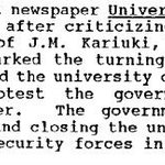 2/ In many ways Moi was continuing the work of his predecessor. In 1972 UON paper was banned after criticising KANU. http://t.co/DFEqyEQMo5