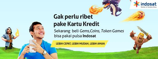 Tuips suka main Clash of Clans? Skrg bisa beli gems dgn pulsa Indosat loh! #beliapppspakepulsa http://t.co/tcZ8paydbP http://t.co/MYLr9GeunM