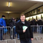 15 hours of queuing and the man at the front, lifelong fan, James has his #FACup tickets @YTFC http://t.co/rHCb7Derdn