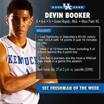 RT @KentuckyMBB: Congrats to @DevinBook, your SEC Freshman of the Week. It's the fourth time this season a Wildcat has won the honor. http:…