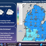Rain on the way for tonight. Up to a few inches of snow possible Christmas Eve, details still uncertain. #wmiwx #miwx http://t.co/t4q8yXknsR