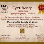 الجمعية الامريكية للتصوير تصنف #جمعية_التصوير_الضوئي في #عمان  الأفضل في الشرق الأوسط للعام ٢٠١٤ @pso_oman http://t.co/sFoFEQsQRq