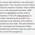 How will your administration handle the problem of boko haram differently from the current one? http://t.co/kvnVpuAJaY