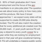 How do you intend to reduce the rate of unemployment ravaging fresh graduates? http://t.co/rGmEUAEkKv