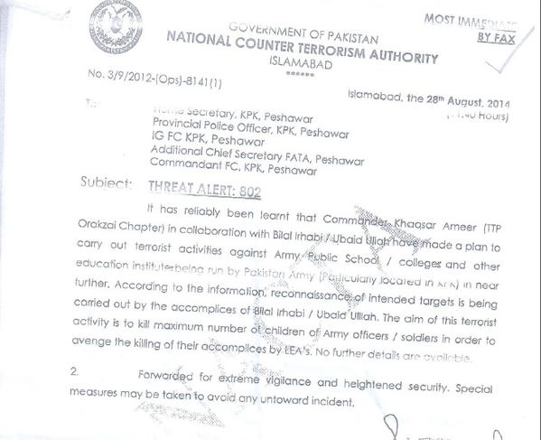 KP govt was warned Peshawar Army Public School was in danger in August and did nothing to protect them. Ask them why http://t.co/0tlaffTE4q