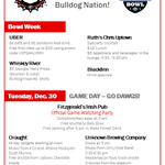 "Thanks for the info! ""@boyswithguitars Heres the official list of events for UGA bowl week! http://t.co/C3oHZTjq35"""