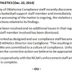 Statement from OU Athletics: http://t.co/hXvDTur1Go