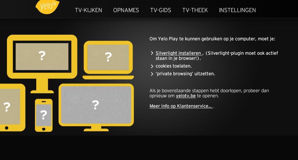 Welkom in de 21ste eeuw met Telenet. Geen #chrome, en verplicht #silverlight. Dat is durven zo de klant behandelen. http://t.co/BoQTBjaBBQ