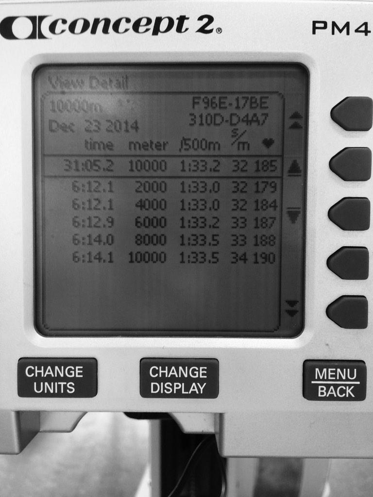Nudged out a 10k on the @concept2 today. Tough distance to manage... Last pre-Xmas erg done!