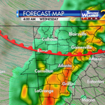 An updated time line on the severe storm threat (south of the warm front) on @wsbtv at 6:29pm. This is 4am Wednesday. http://t.co/Ib0G6SgDgZ