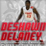ICYMI: Deshawn Delaney named MW Player of the Week after averaging 19.5 points & 10.0 boards in two Ws. #GoLobos http://t.co/2IIskRs6Nm