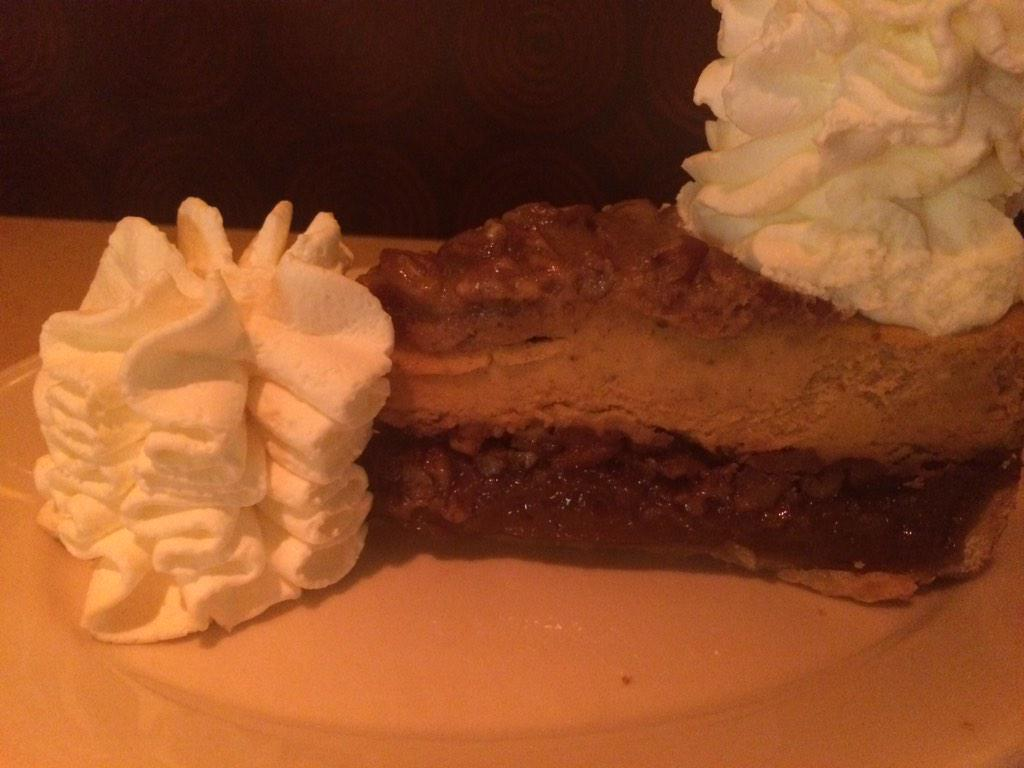 A slice of pumpkin pecan cheesecake to share after a family dinner at the @Cheesecake Factory! http://t.co/RJwMcBPk6E