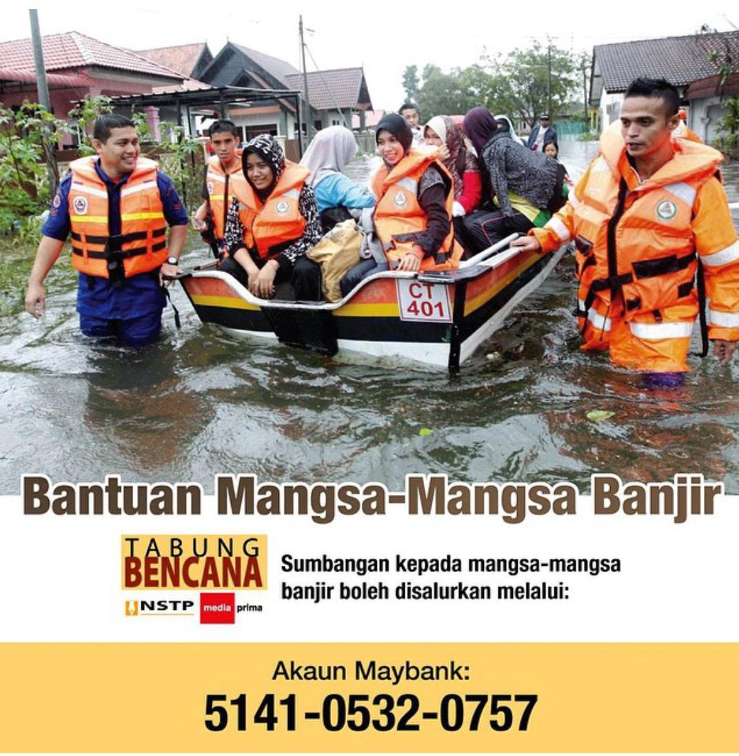 Marilah sama-sama kita hulurkan bantuan kepada mangsa-mangsa banjir di Pantai Timur.Tabung Bencana NSTP-Media Prima. http://t.co/NP2k3avThC