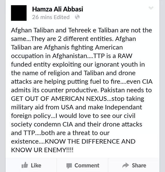 Hamza Ali Abbasi reaching new levels of stupidity every now and then. What a moron. http://t.co/GJRor3tz7r