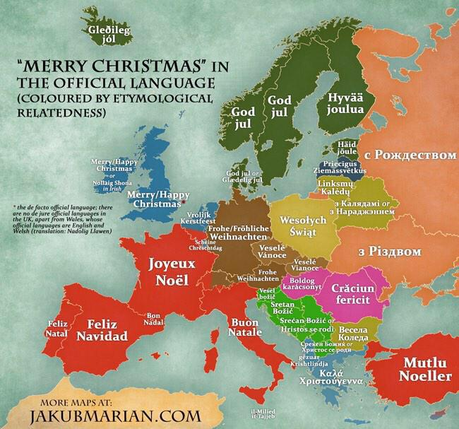 RT @annamasera: How to say the equivalent of #MerryChristmas in every (official) European language - via @SMTuffy http://t.co/r1zVatHuJE