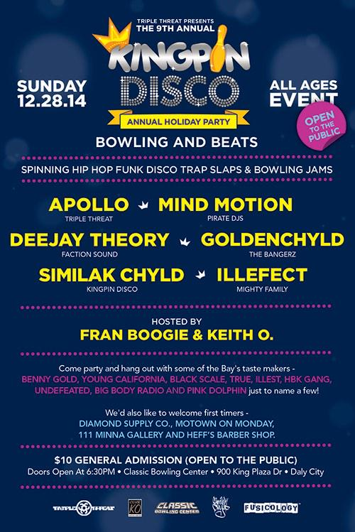 KINGPIN DISCO This Sunday @ClassicBowling All Ages/Open To The Public @DJApollo11 @DJMindMotion @Goldenchyld + More http://t.co/f8HmtltJQd