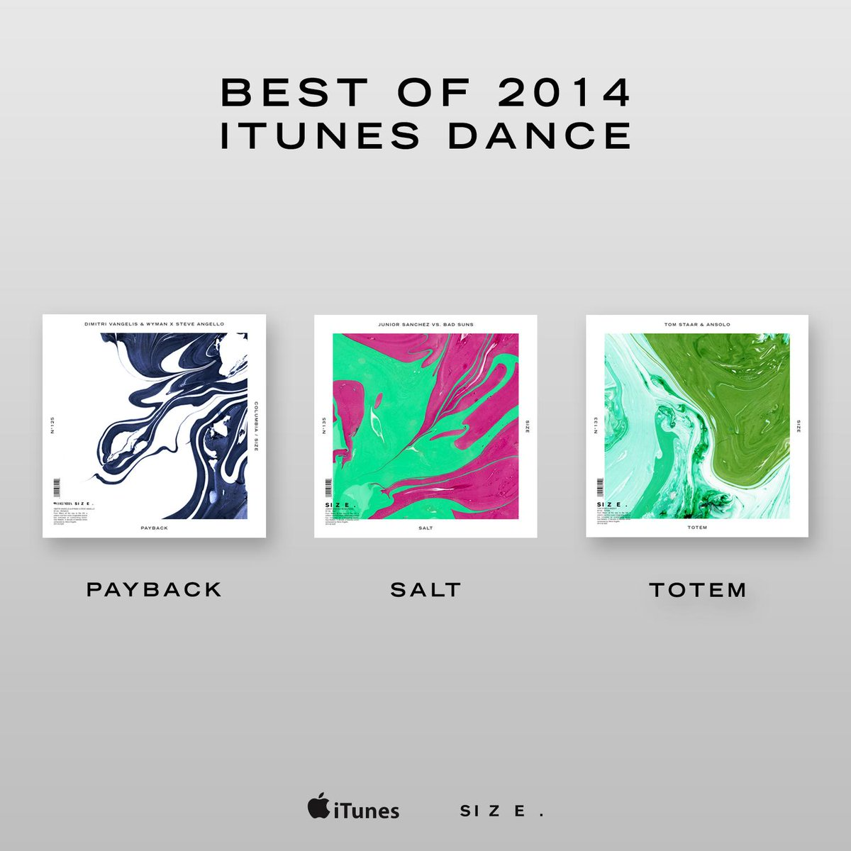 .@iTunes listed 'Payback', 'Salt', & 'Totem' as some of the best Dance tracks of 2014!! What was your favorite? http://t.co/L0MyjMnCrt