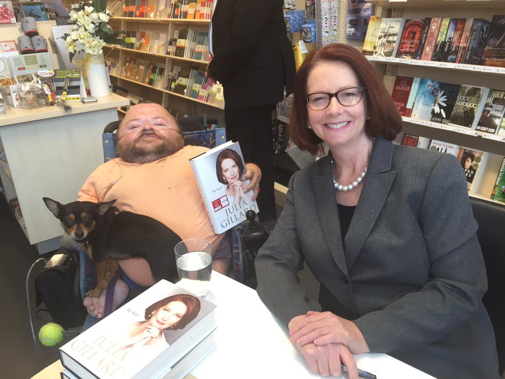 @JuliaGillard great to meet you & to finally thank you for the #NDIS. Sad @TonyAbbottMHR is wrecking it. #auspol http://t.co/JHAT02MOeF