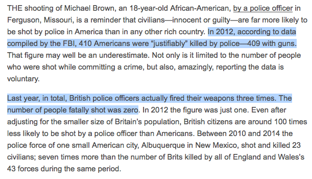 Officer who killed #AntonioMartin fired his gun as many times as entire British police force. http://t.co/YOR0o5bq7j http://t.co/BaMqnCtu8F