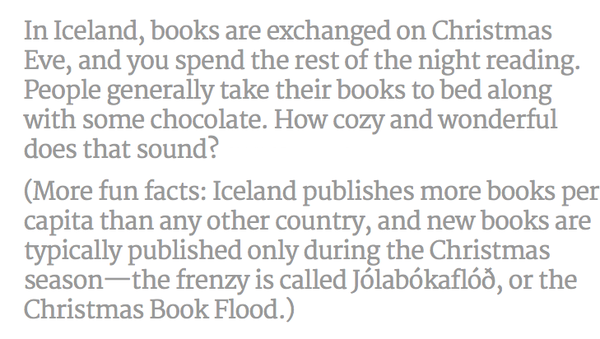 BOOKS! RT @lizziespeller: The Iceland Christmas Book Flood (Jolabokaflod). Oh, my sort of Christmas Eve http://t.co/hPL9tT3bmk