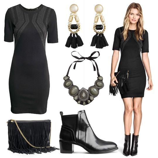 Look robe noire chic