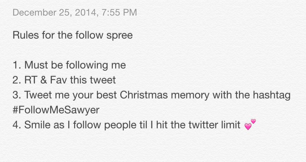 Rules for the #FollowMeSawyer Follow Spree! Merry Christmas #HartThrobs http://t.co/xBOYzC1jyj