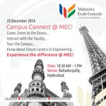RT @StudyatMEC: CAMPUS CONNECT @ MEC this SUNDAY, 28th Dec 2014! Be there to meet the Deans and Faculty and experience the campus! http://t…