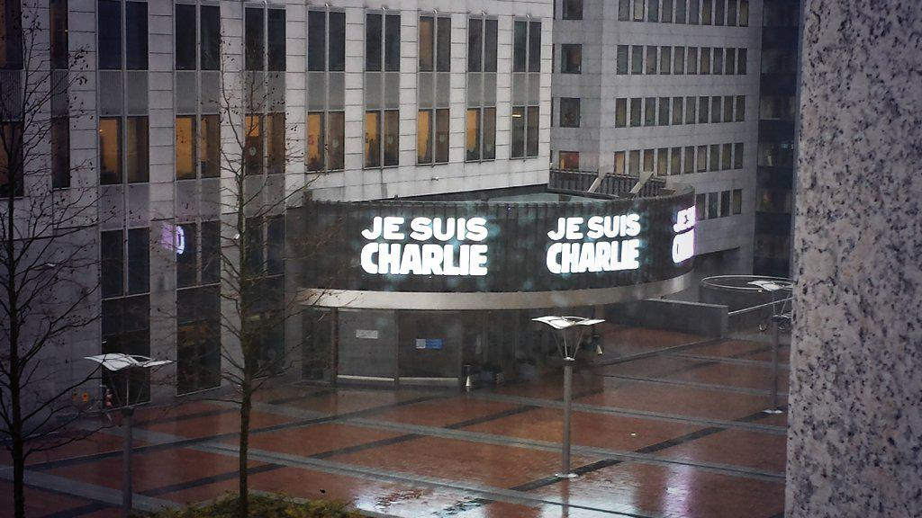 .@europarl displaying #jesusischarlie. MEPs & staff will hold a minute silence outside #EP in the next few mins http://t.co/Djp8wGOEr5