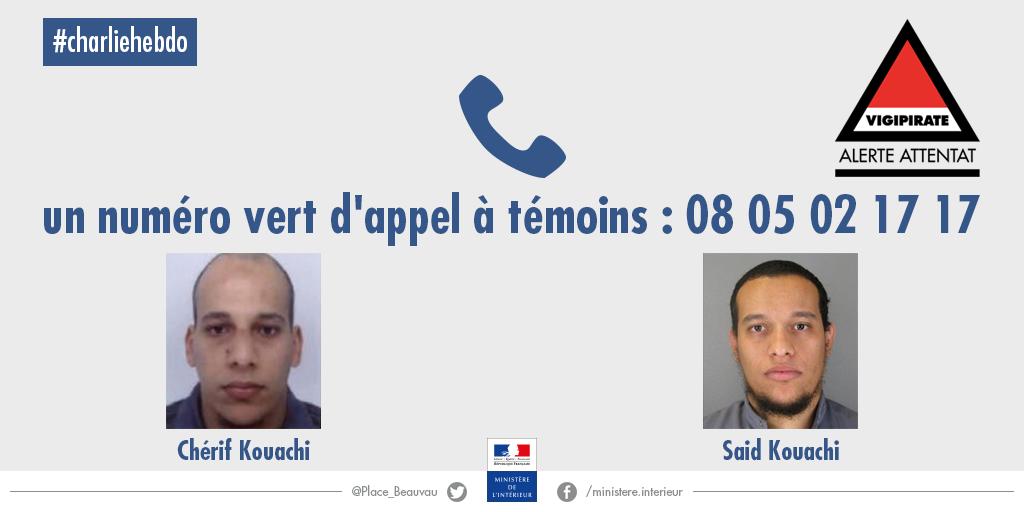 Appel à témoins #CharlieHebdo ; un seul numéro 0 805 02 17 17 ; Merci pour vos RT http://t.co/QneVmNhJxX