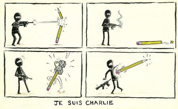 28 artisti esprimono la loro solidarietà #JeSuisCharlie attraverso queste illustrazioni. http://t.co/aJOcZHAyGf http://t.co/biVWMtZUTv