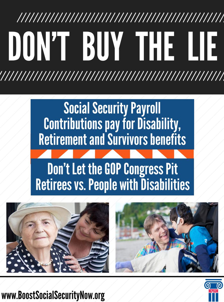 Don't buy the lie! #SocialSecurity payroll contributions pay for disability, retirement and survivors benefits: http://t.co/qtUHBq4Zhj