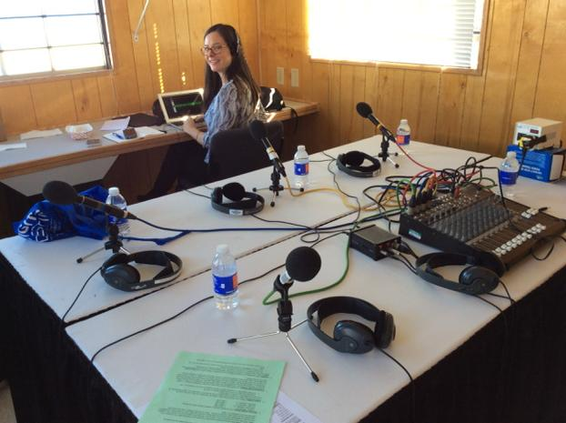 Producer @minnie_r has just built an entire radio studio at #ces2015 and is not at all stressed, oh no... http://t.co/XYwqrknjMR