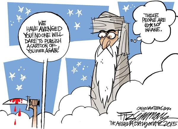 Many timid editors calling about this Fitzsimmons cartoon, depicting Profit Muhammad. #CharlieHebdo  #JeSuisCharlie http://t.co/WGLqhpXmyf