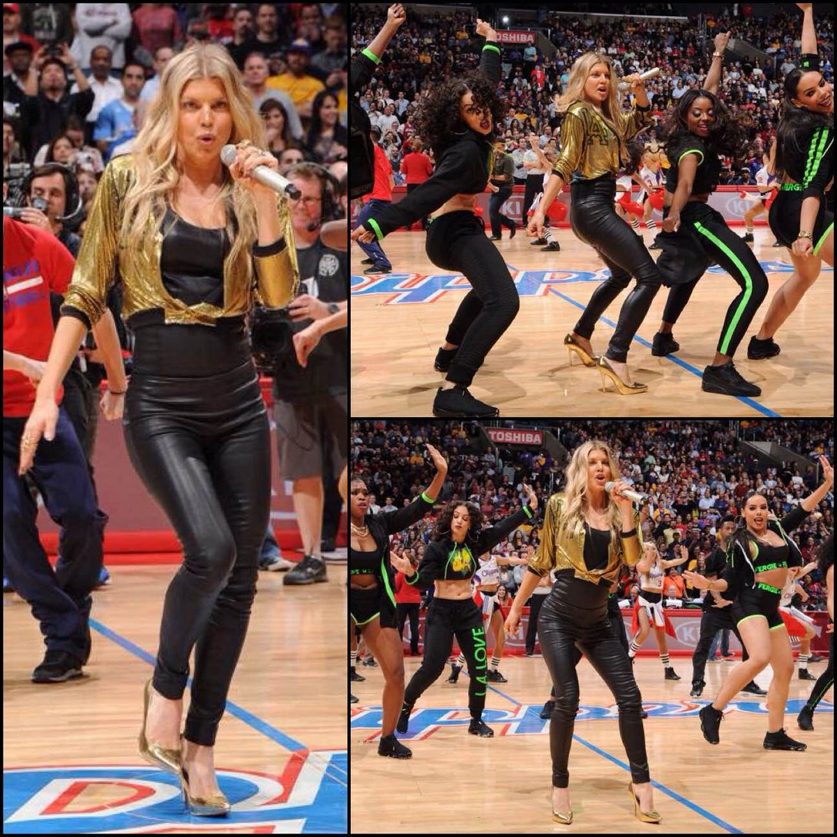 1/7 @Fergie surprised @STAPLESCenter w/ #LALOVE #flashmob in custom #FergieFootwear #goldpumps!http://t.co/fwXdvQ5biC http://t.co/ZN8775gCA4