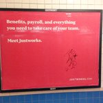 Look who is running ads in the NYC subway: @DEMO alum @JustworksHR. Great product. payroll and benefits for startups http://t.co/LmZldqaR5H