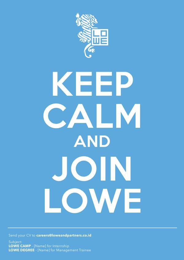 Any potential rockstars interested in joining Lowe? :D Contact careers@loweandpartners.co.id http://t.co/kI8rUUdELs