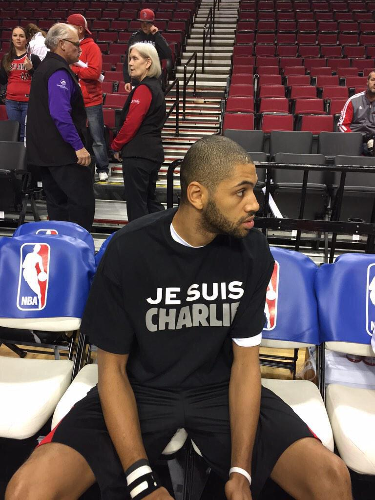 This is @nicolas88batum warm-up jersey tonight #JeSuisCharlie #RipCity