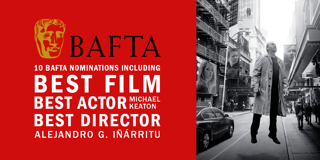 Watch #BirdmanMovie – nominated for 10 BAFTA awards including Best Film and Best Actor – in cinemas now! #BAFTA2015 http://t.co/uHU2aPOL8G