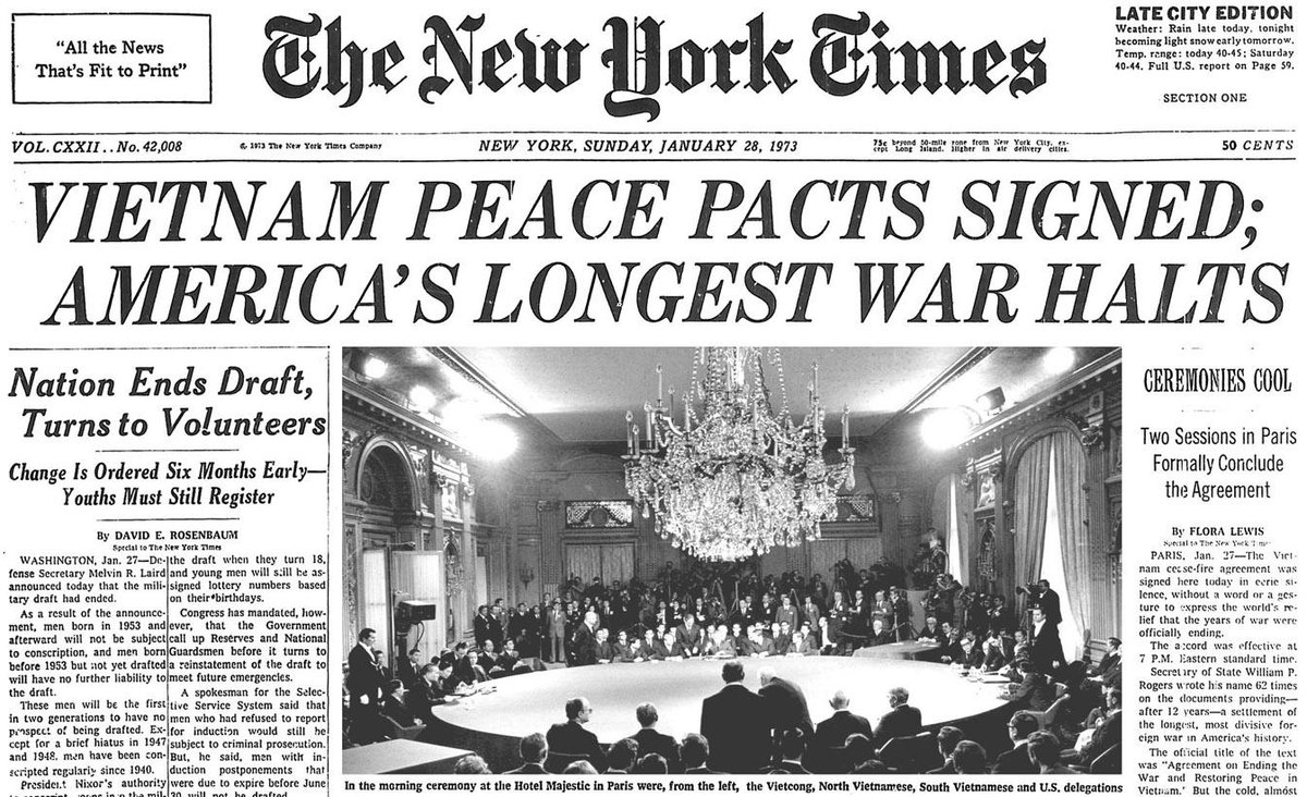 The Vietnam Peace Pact Is Signed And The Us Military