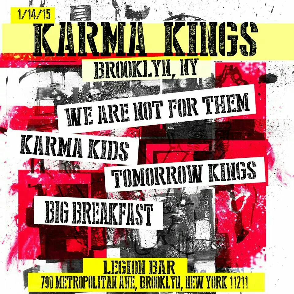 Next Wednesday! @tomorrowkings @40ozBREAKFAST  @wearenotforthem & @KarmaKidsNYC LIVE @LegionBar in #BROOKLYN #NewYork http://t.co/wPEiHscMQd