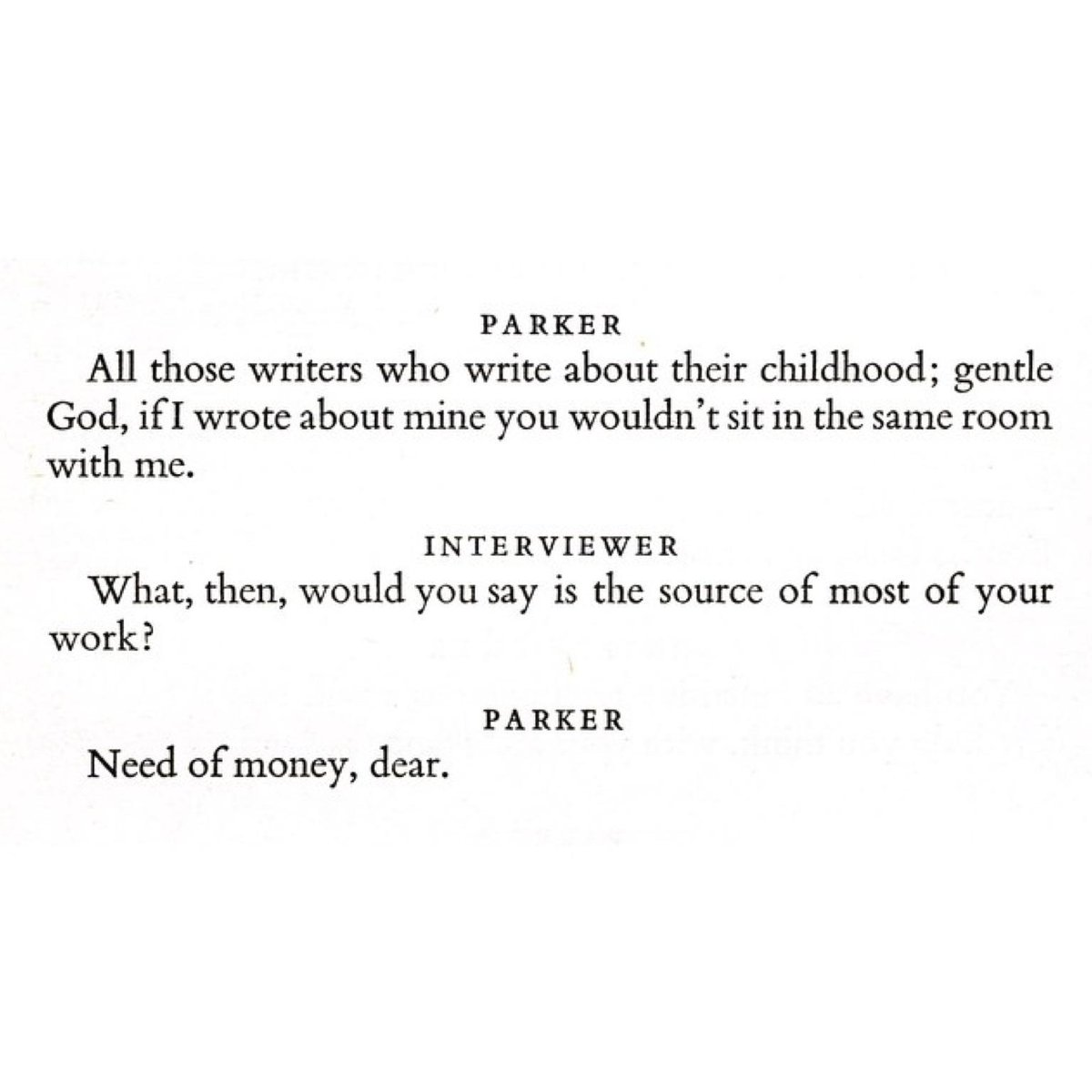 From Dorothy Parker's Art Of Fiction interview in issue 13 of the @ParisReview (Summer 1956) http://t.co/1hpn89iG7O