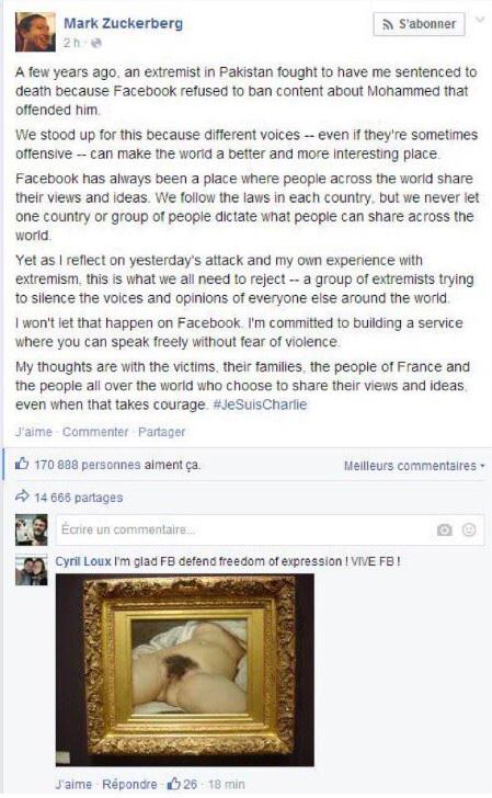 Brilliant: Mark Zuckerberg being trolled on his Facebook page after his statement on #JeSuisCharlie /via @Lesoir http://t.co/2n1qiMYPEI