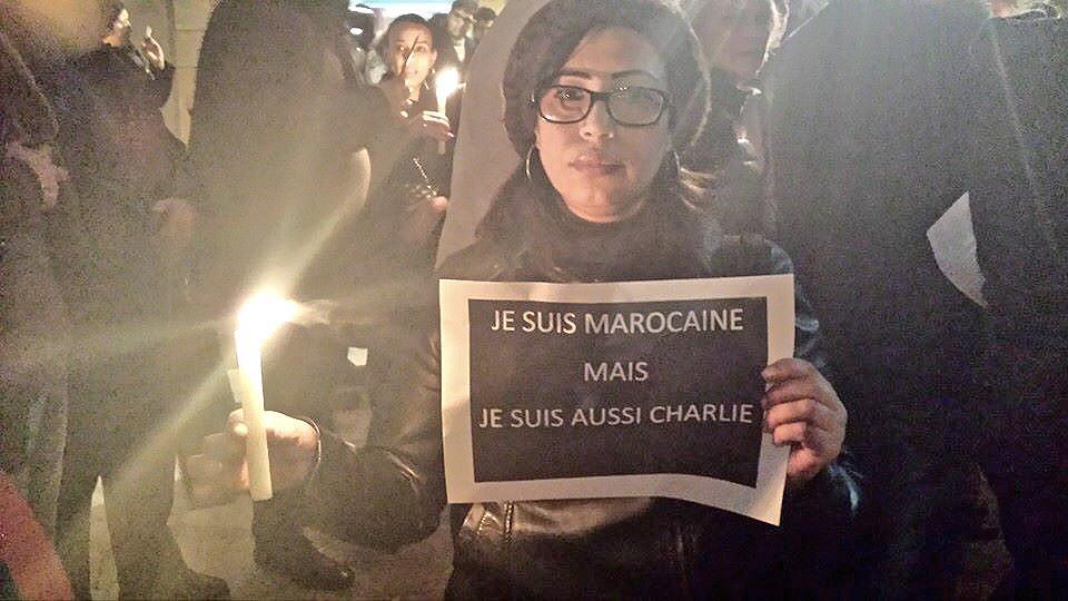 """I'm a Moroccan. I'm Charlie, #JeSuisCharlie"" - sitin #Rabat #Morocco #Maroc http://t.co/b2H0p9Fuyc"
