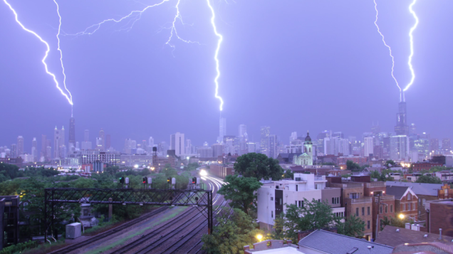 Friday Photo of the Week: @cshimala captures lightning striking three of Chicago's tallest buildings simultaneously. http://t.co/oLpWitLgx1