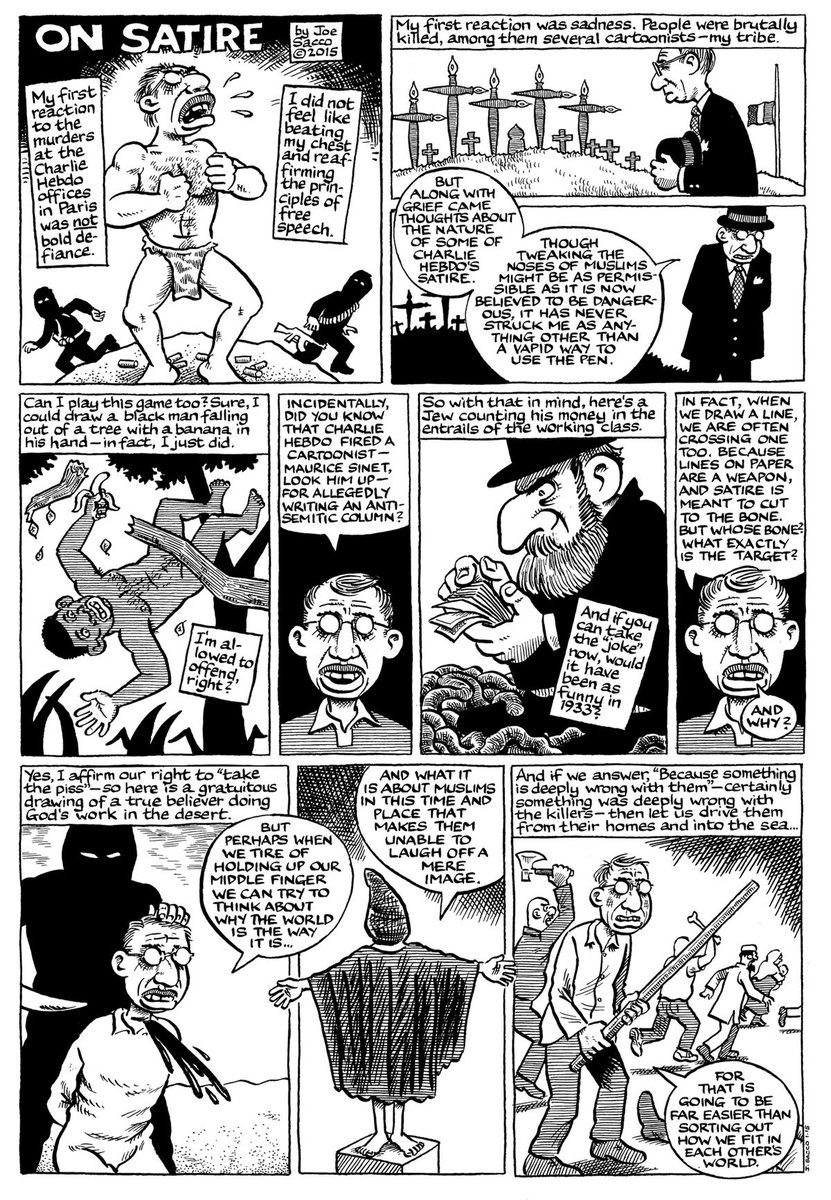 Acclaimed graphic artist and journalist Joe Sacco on the limits of satire http://t.co/pZNtf6Hfkd http://t.co/vl1g5EDfmZ