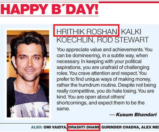 Both of my favvvy\s  Happy Birthday Drashti Dhami & Hrithik Roshan